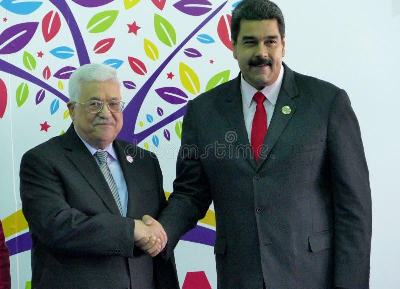 Mahmoud Abbas, president of Palestine and Venezuelan President Nicolas Maduro. Porlamar, Venezuela. September 17th, 2016: Mahmoud Abbas, president of Palestine stock photo