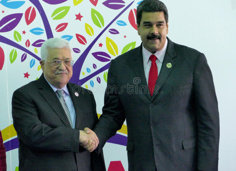 Mahmoud Abbas, voorzitter van Palestina en Venezolaanse President Nicolas Maduro stock foto
