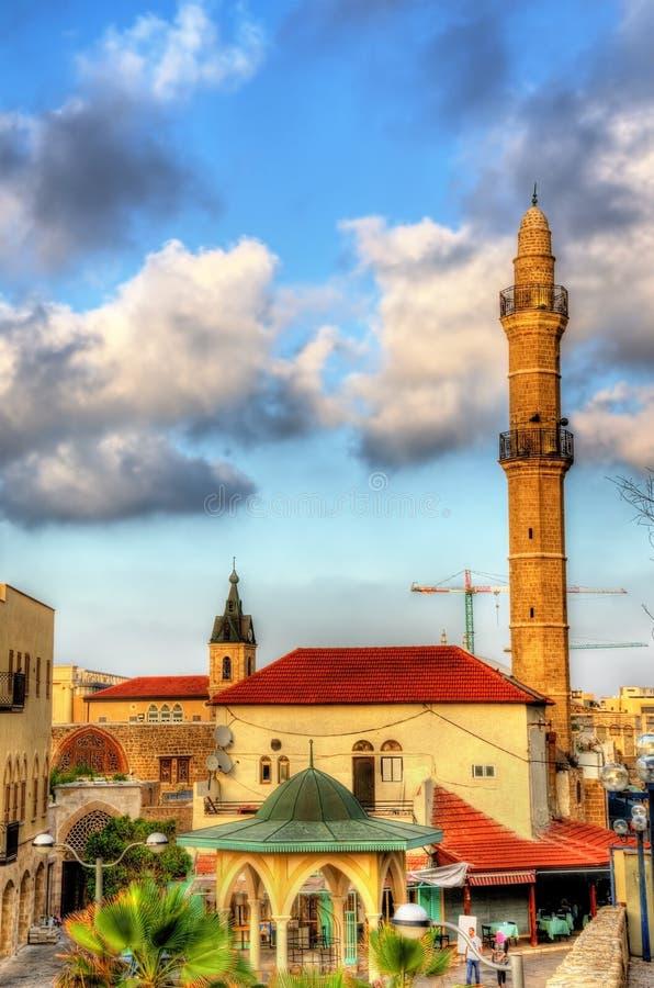 Mahmoudiya清真寺看法老镇Tel的Aviv贾法角 免版税库存照片
