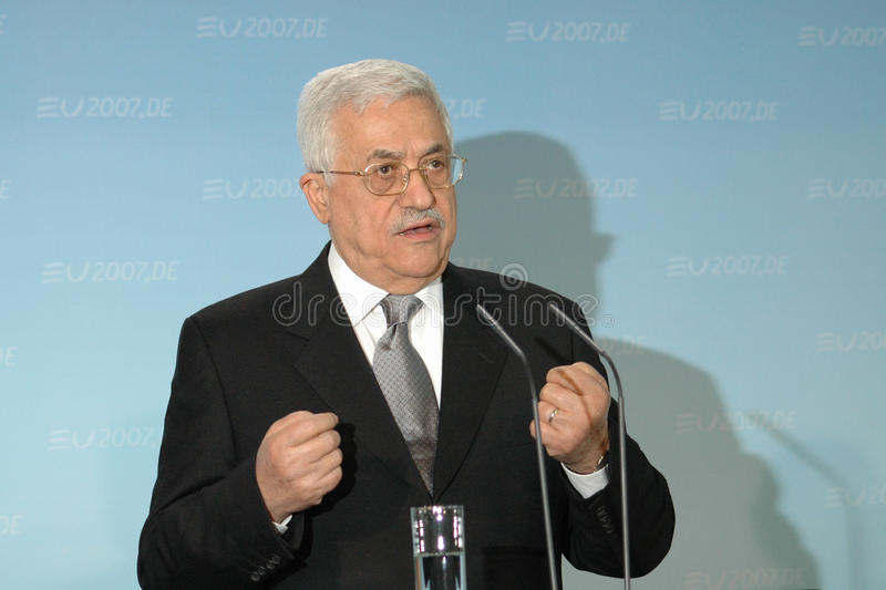 Mahmud Abbas. BERLIN, FEBRUARY 23: Palestinian President Mahmud Abbas looks into the camera at a meeting with the German Chancleor in Berlin on February 23, 2007 stock image