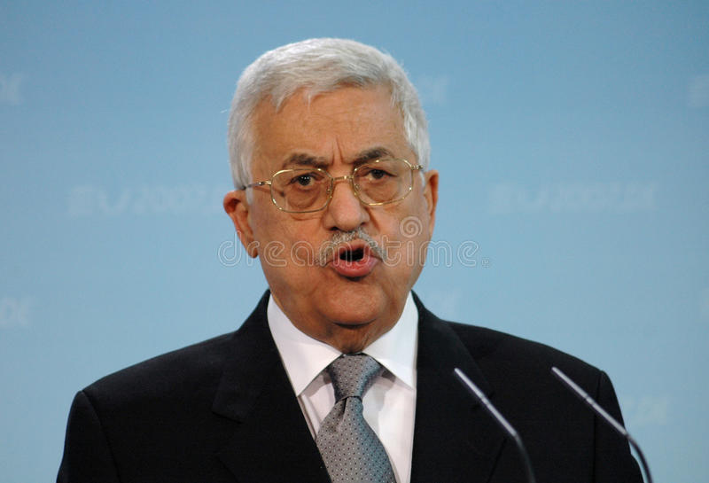 Mahmud Abbas. FEBRUARY 23, 2007 - BERLIN: the President of the Palestinian National Authority Mahmud Abbas (Fathah) speaks during a meeting with the German stock image