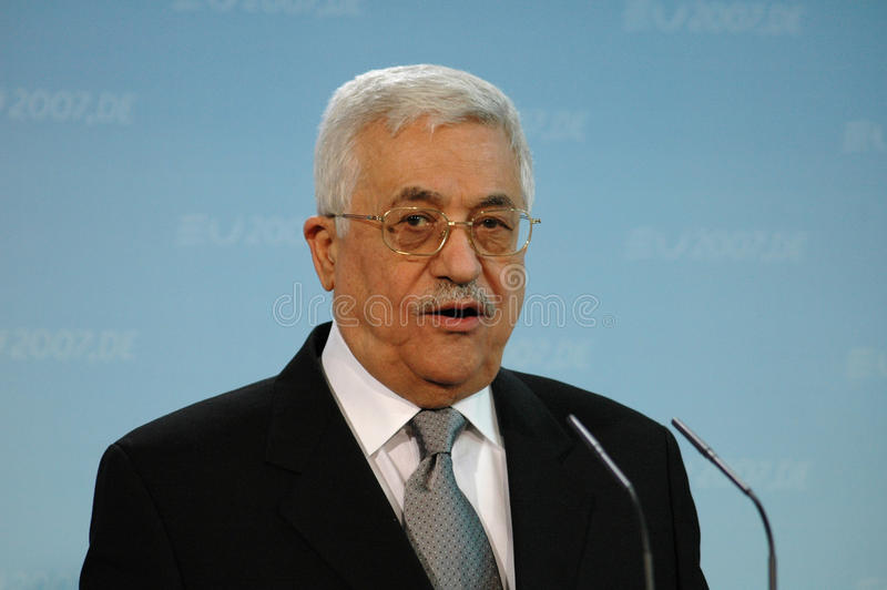 Mahmud Abbas. FEBRUARY 23, 2007 - BERLIN: the President of the Palestinian National Authority Mahmud Abbas (Fathah) speaks during a meeting with the German royalty free stock photo