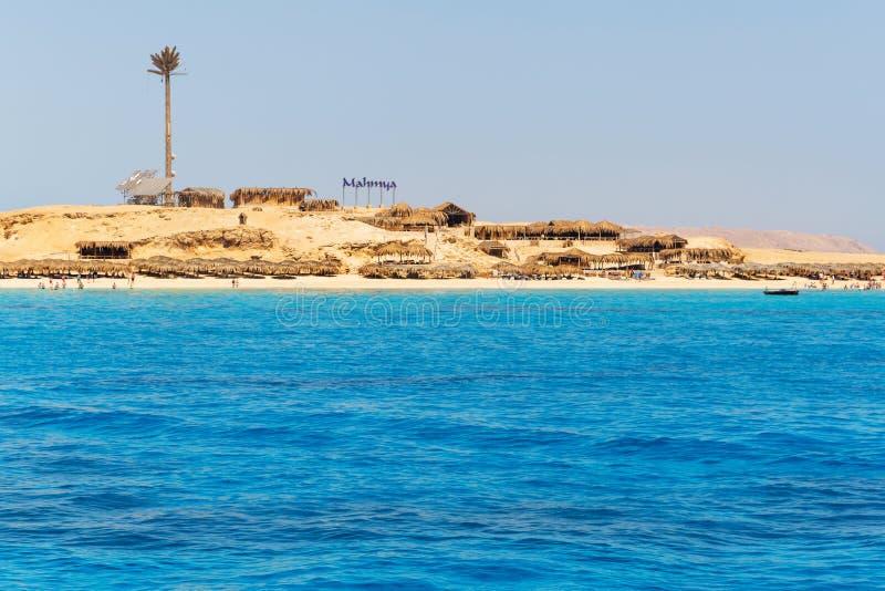 Mahmya island with turquoise water of Red Sea stock photo
