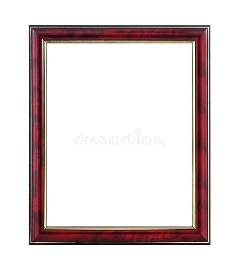 Mahoń i złocista drewniana obrazek rama na białym tle z ścinek ścieżką fotografia stock
