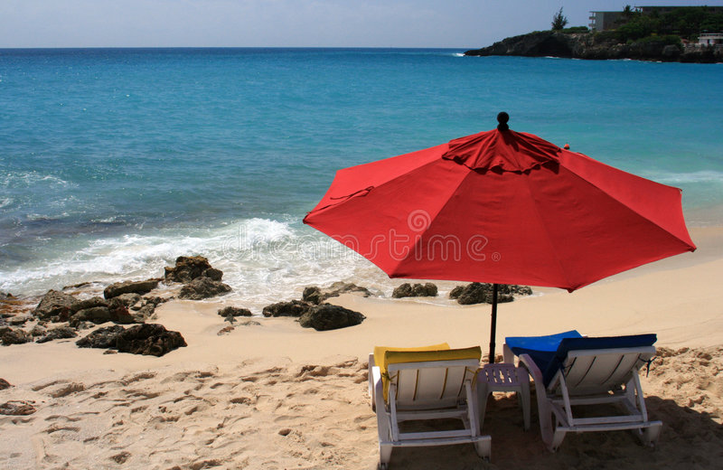Maho Bay Beach, St. Maarten royalty free stock photos