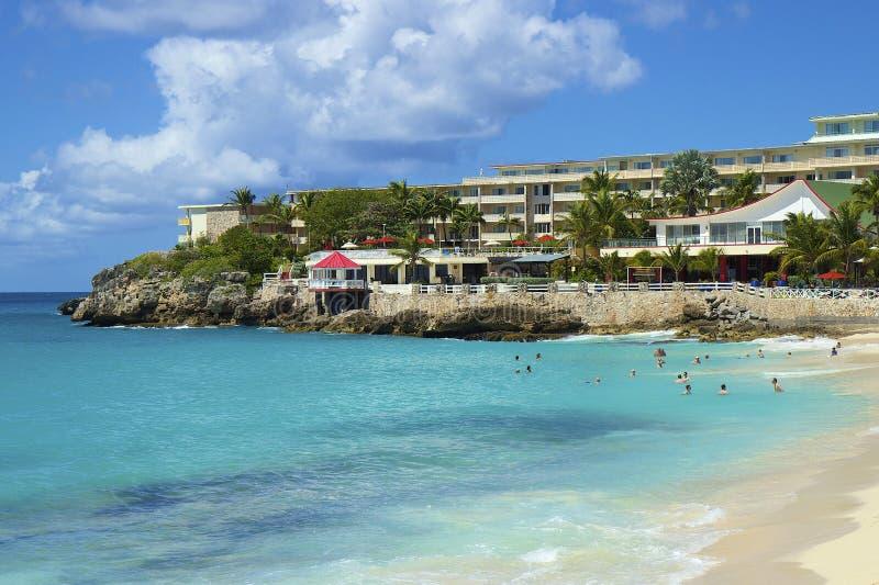 Maho Bay, St. Maarten, karibisch lizenzfreie stockbilder