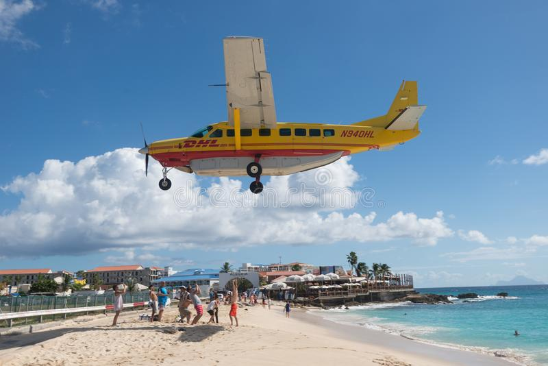 Maho Beach, Sint Maarten - 20th of October 2016: Low Flying Plan royalty free stock images