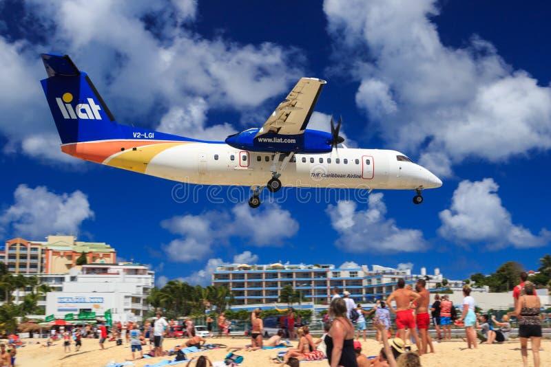Maho-Strand St. Maarten stockfotografie