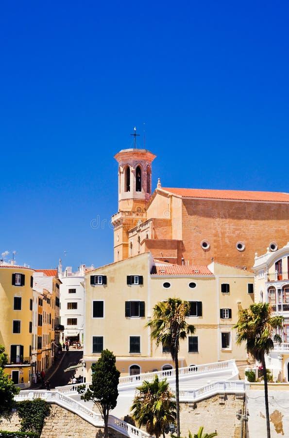 Mahon gammal stad, Minorca, Spanien fotografering för bildbyråer