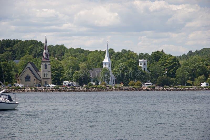 Mahone Bay`s Three Churches stock images