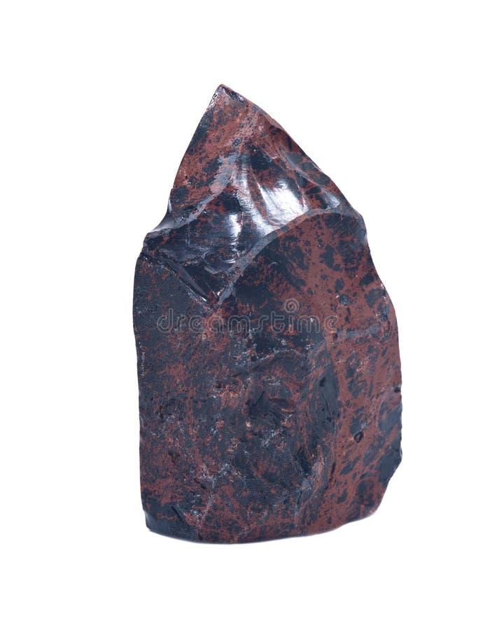 Mahonie obsidian het opgepoetste snijden stock fotografie