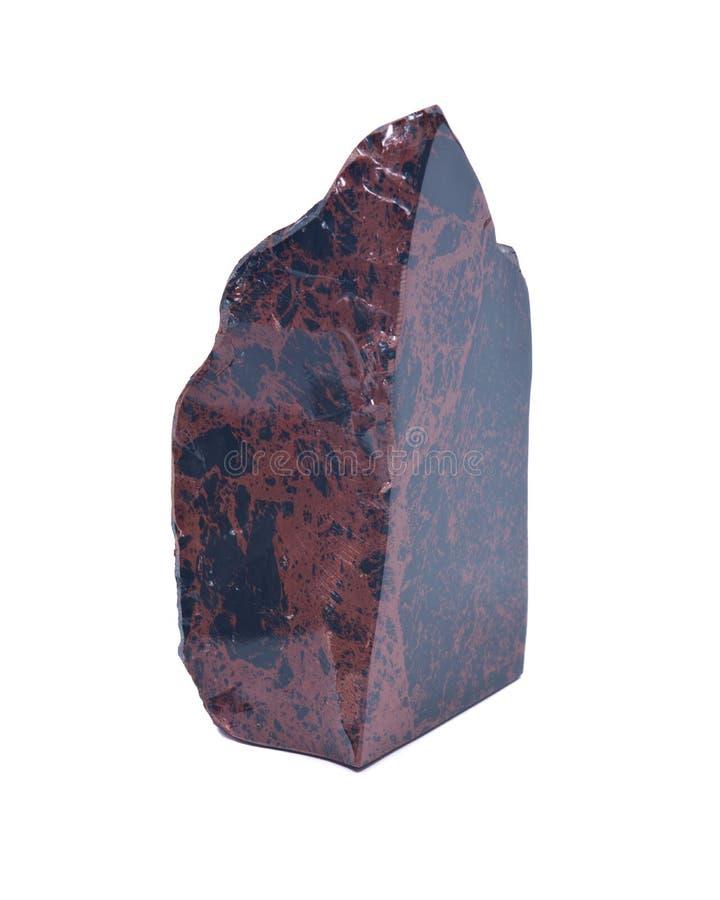 Mahonie obsidian het opgepoetste snijden royalty-vrije stock foto