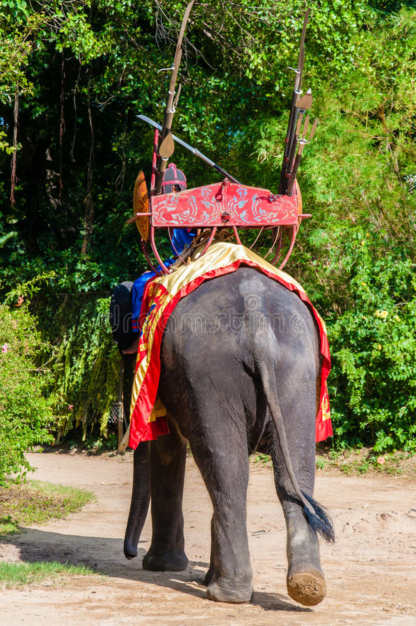 Mahouten och hans elefant på den Samphran elefanten grundar & zoo på Maj 24, 2014 i Nakhon Pathom arkivbild