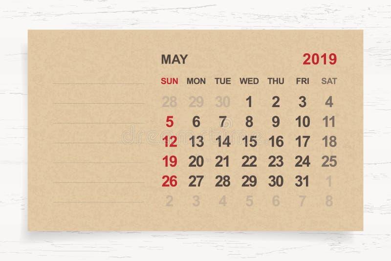 Mai 2019 - calendrier mensuel sur le fond de papier brun et en bois illustration stock