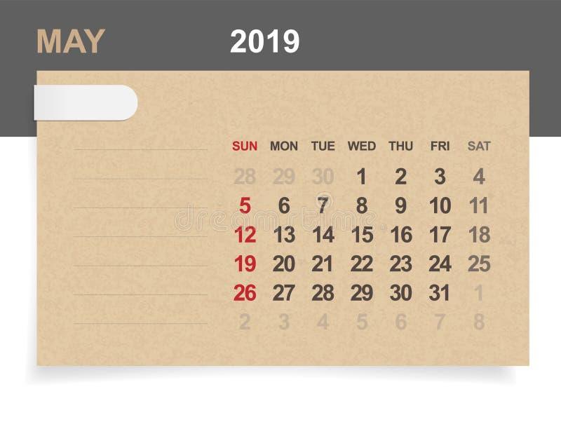 Mai 2019 - calendrier mensuel sur le fond de papier brun et en bois illustration de vecteur