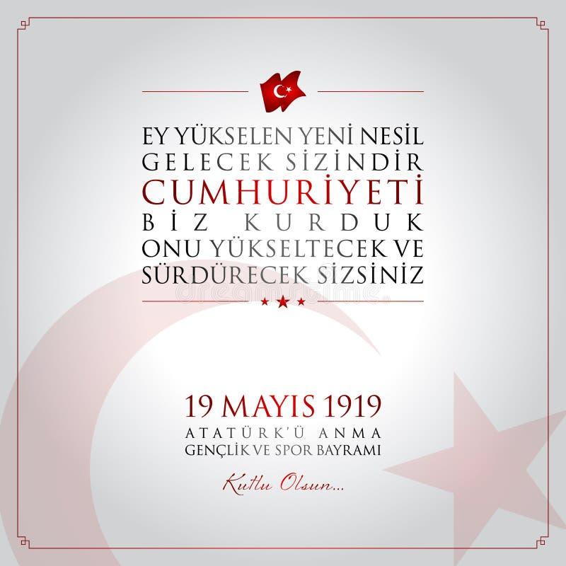 19 mai, commémoration de carte de célébration de la Turquie de jour d'Ataturk, de jeunesse et de sports illustration libre de droits