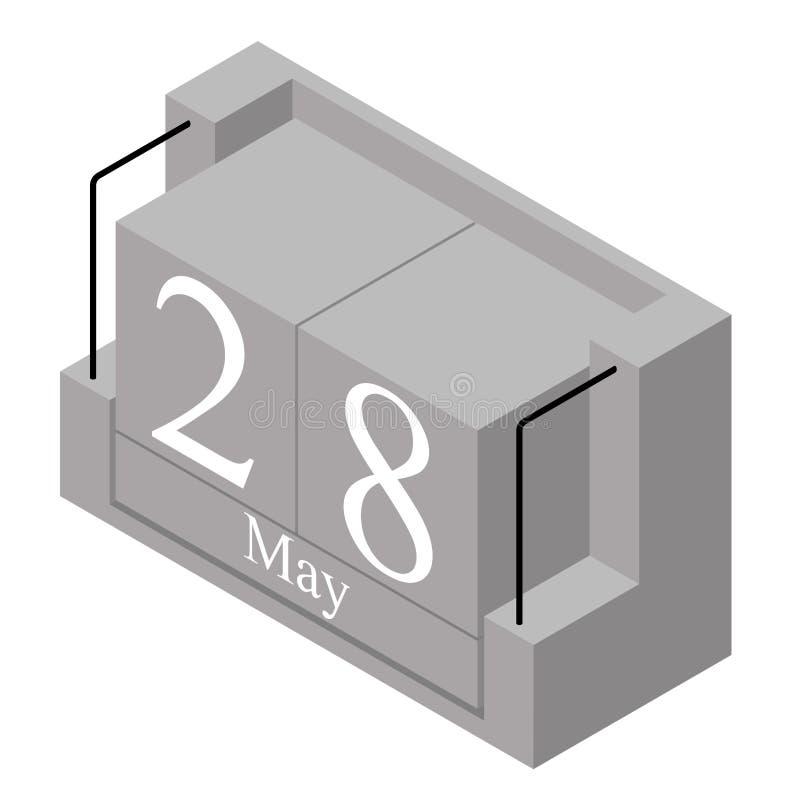 28. Mai Datum an einem Kalender des einzigen Tages Anwesendes Datum 28 des grauen h?lzernen Kalenderblocks und Monat Mai lokalisi stock abbildung
