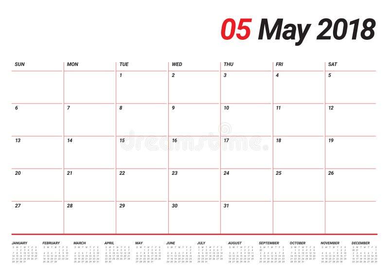 Mai 2018 illustration de vecteur de planificateur de calendrier illustration stock