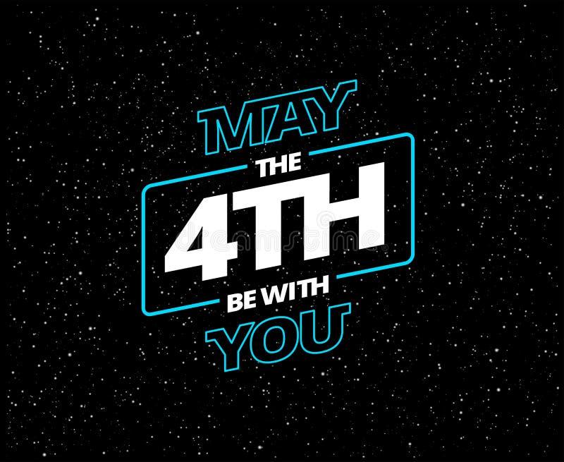 Mai ist das 4. mit Ihnen - Feiertagsgrußkartenvektor vektor abbildung