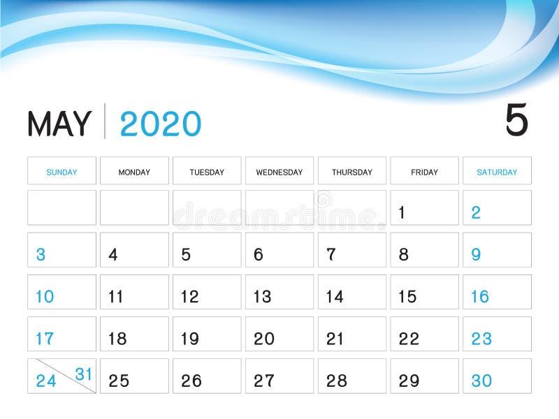 MAI 2020 Jahr-Schablone, Kalender-2020 Vektor, Tischkalender-Entwurf, Wochen-Anfang am Sonntag, Planer, Briefpapier, Drucken stock abbildung