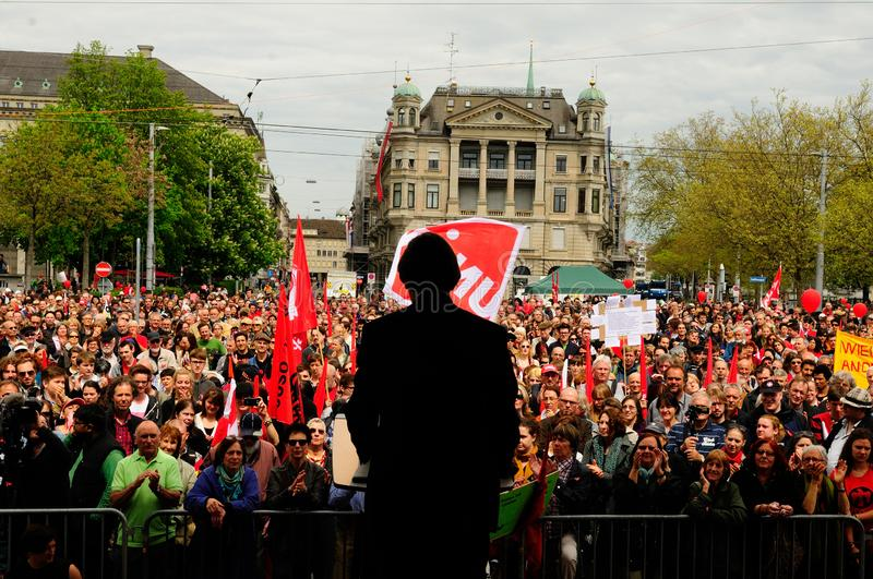 1. Mai: National councillor and SGB-labour president Paul Rechsteiner speaking in Zürich at Bürkliplatz in front of labour royalty free stock images
