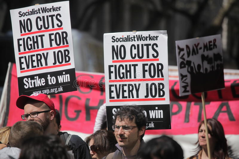1. Mai Proteste in London lizenzfreie stockfotografie