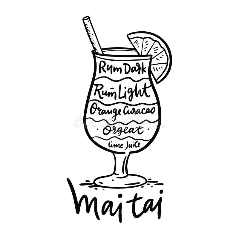 Mai Tai и свои ингредиенты коктейля в винтажном стиле Иллюстрация вектора притяжки руки иллюстрация вектора