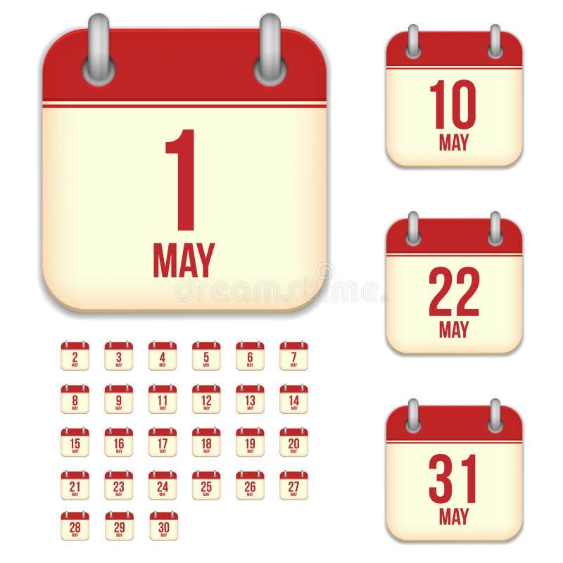 Mai-Vektorkalenderikonen stock abbildung
