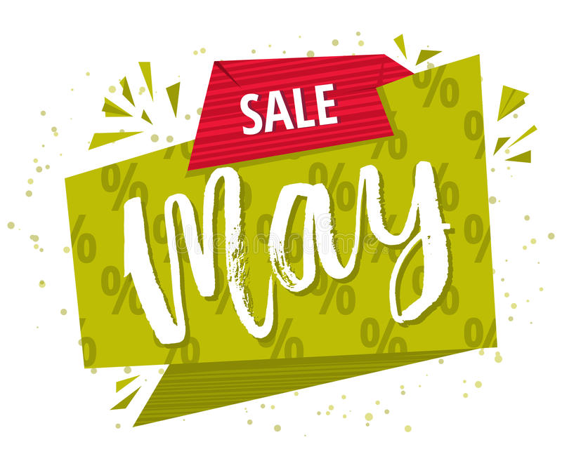 Mai-Verkaufsgrünplakat Verkaufs-Frühlings-Fahne, lokalisiert auf weißem Hintergrund Vektor vektor abbildung
