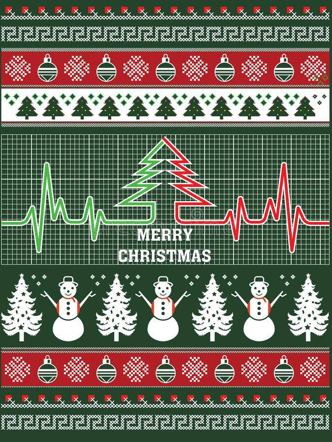 Mai-Weihnachten ist in Ihrem Herz-Art-T-Shirt Entwurf immergrün lizenzfreie abbildung