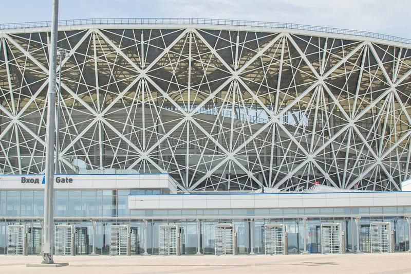 23. Mai 2018 Wolgograd, Russland Neue Fußballstadion Wolgograd-Arena lizenzfreie stockbilder