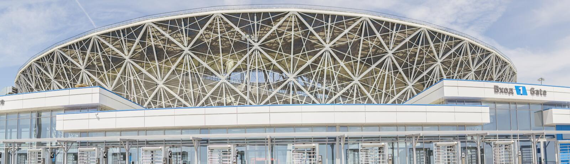 23. Mai 2018 Wolgograd, Russland Neue Fußballstadion Wolgograd-Arena lizenzfreies stockbild