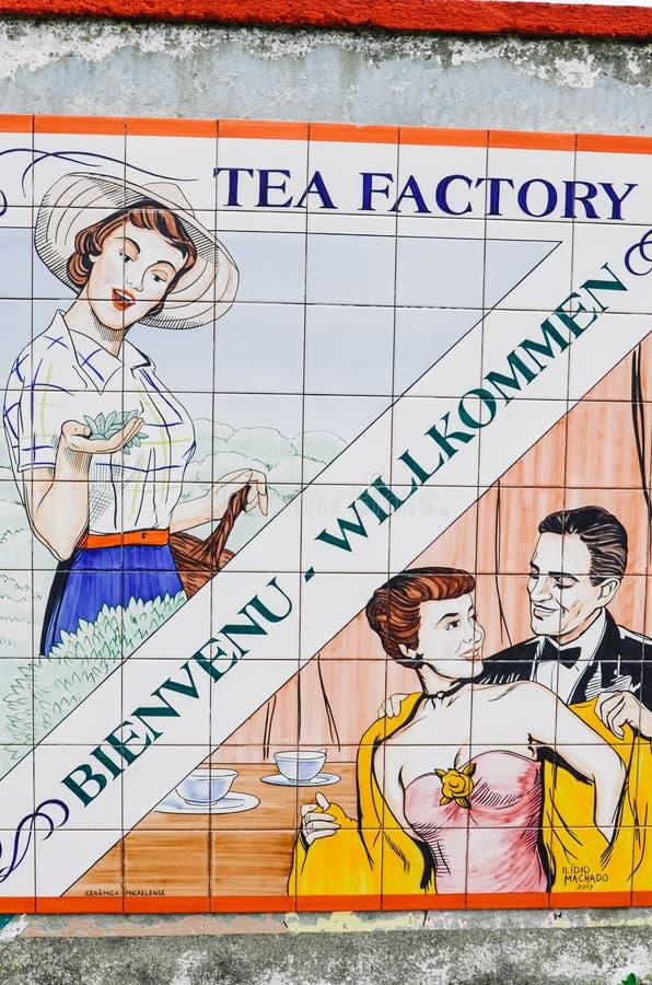Maia, Azorerna, Portugal - 14 januari 2020: Gorreana Tea Plantation i Sao Miguel Gå in i tefabriken med gammal kaka royaltyfri fotografi