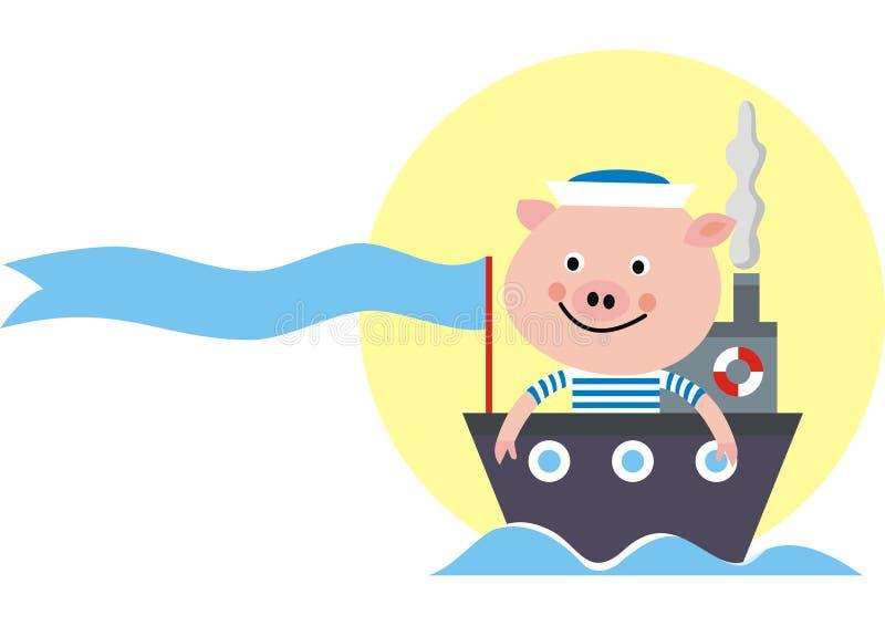 Maiale alla barca, illustrazione divertente, icona di vettore, concetto illustrazione vettoriale