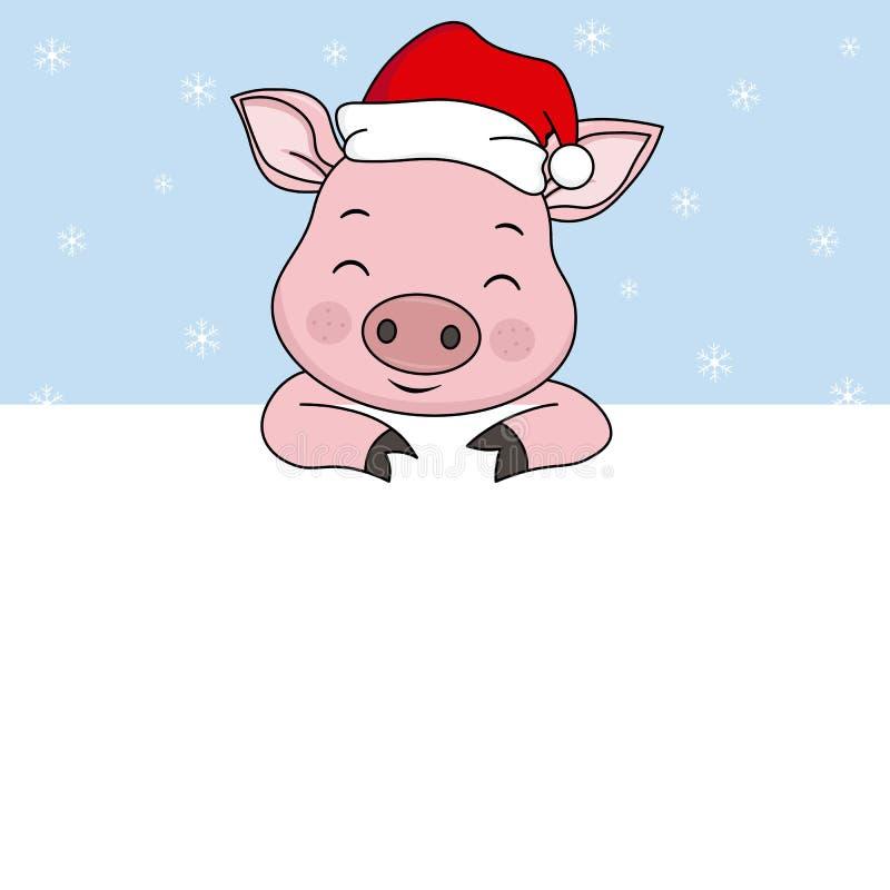 Maiale con il cappello Santa Claus illustrazione di stock
