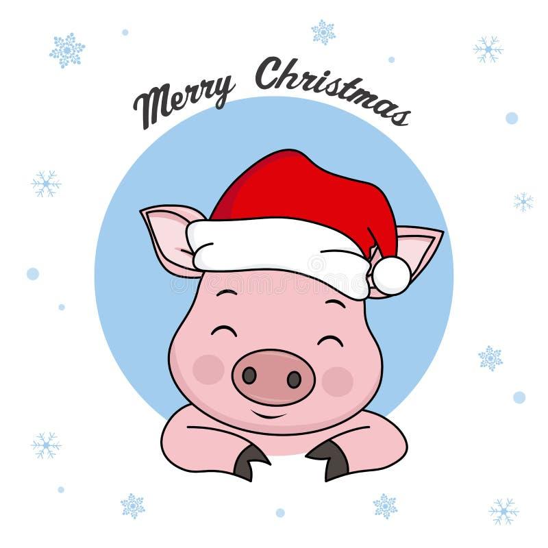 Maiale con il cappello Santa Claus illustrazione vettoriale