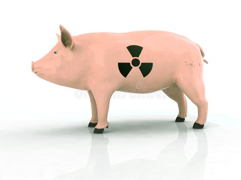 Maiale con il simbolo radioattivo sulla pelle royalty illustrazione gratis