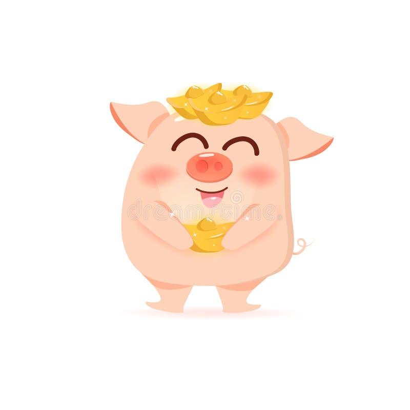 Maiale con ricchezza, oro cinese, personaggi dei cartoni animati svegli, nuovo anno cinese, anno del maiale sul vettore bianco de illustrazione di stock