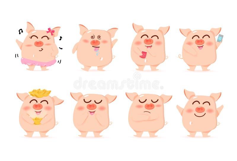 Maiale del bambino, caratteri, raccolta sveglia del fumetto, nuovo anno cinese, anno del maiale, vettore, isolato su fondo bianco illustrazione di stock