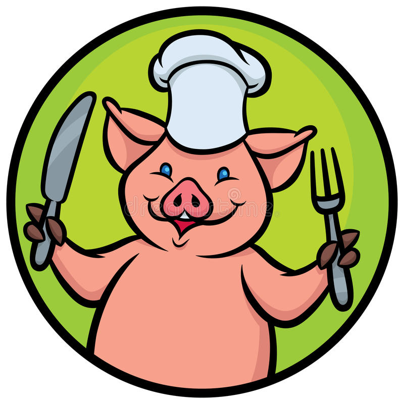 Maiale del cuoco unico del fumetto illustrazione vettoriale