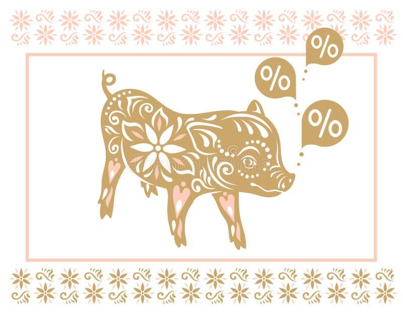 Maiale del segno Saluti cinesi del nuovo anno, anno del maiale royalty illustrazione gratis