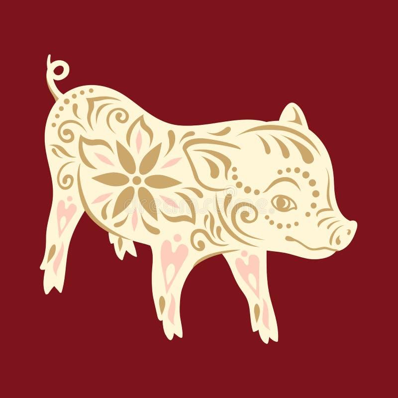 Maiale del segno Saluti cinesi del nuovo anno, anno del maiale illustrazione vettoriale