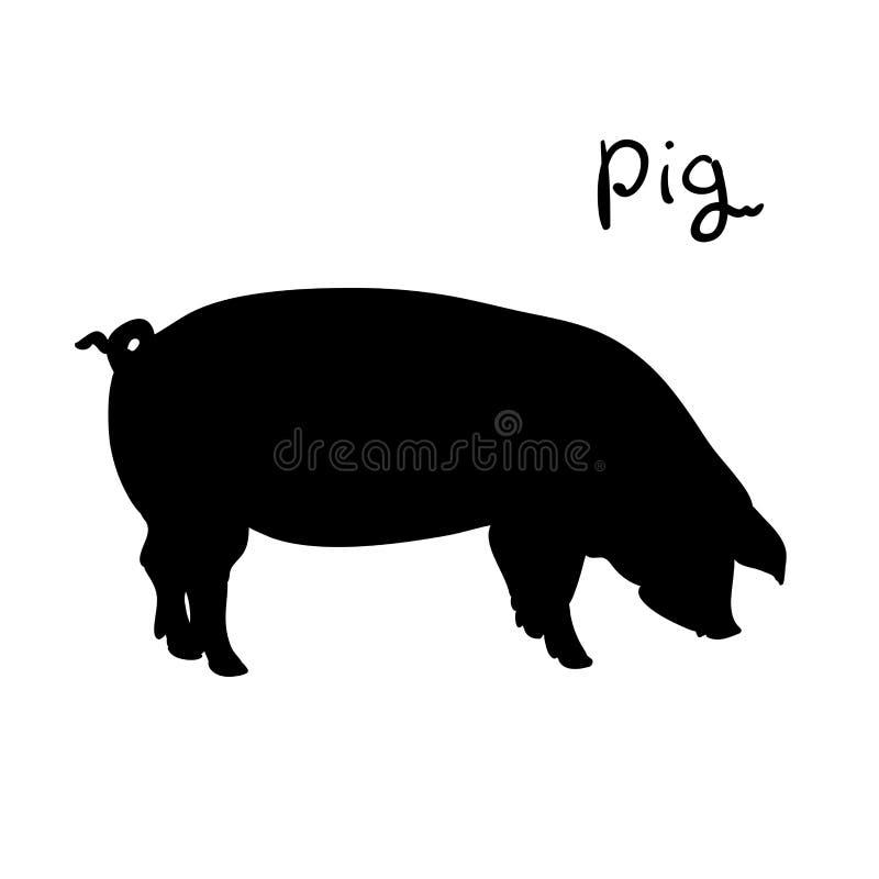 Maiale dell'illustrazione di vettore Animale da allevamento della siluetta illustrazione di stock