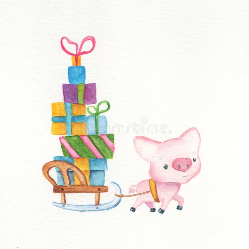 Maiale e slitta svegli con i regali di Natale animale cinese di simbolo del calendario 2019 Illustrazione dell'acquerello del mai illustrazione di stock