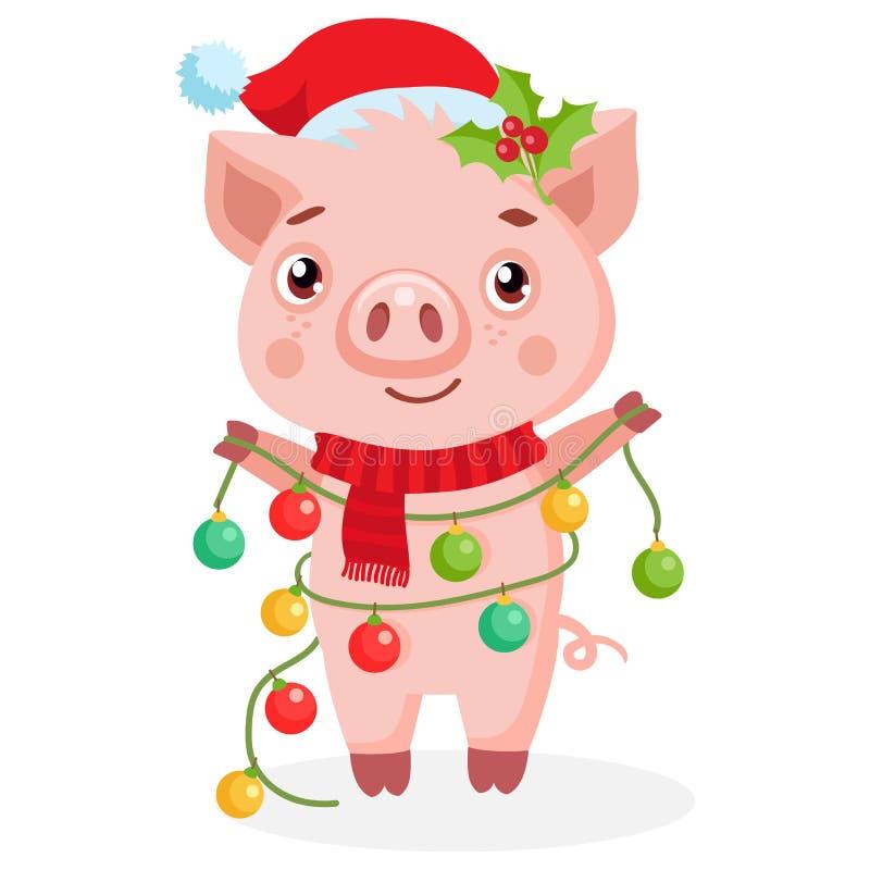 Maiale felice del fumetto sveglio in Santa Hat Piccolo ghirlanda del nuovo anno della tenuta del maiale illustrazione di stock