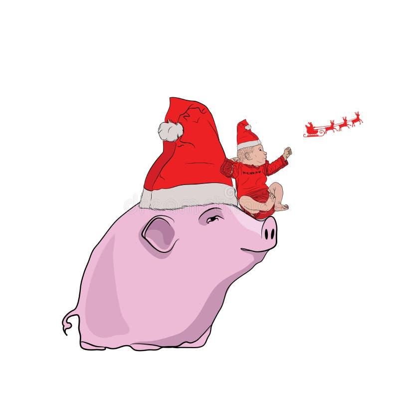 maiale rosa con un poco elfo sui suoi talloni Un simbolo di 2019 illustrazione di stock