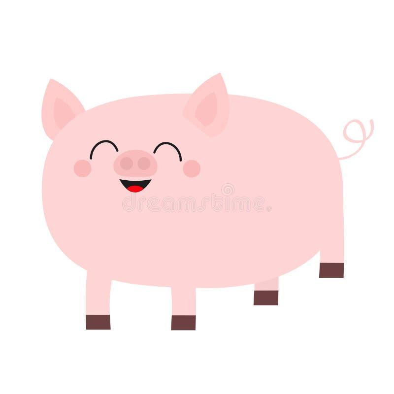 Maiale rosa Fronte sorridente Carattere divertente del bambino del fumetto sveglio Animale della scrofa dei maiali del maiale Un  illustrazione vettoriale