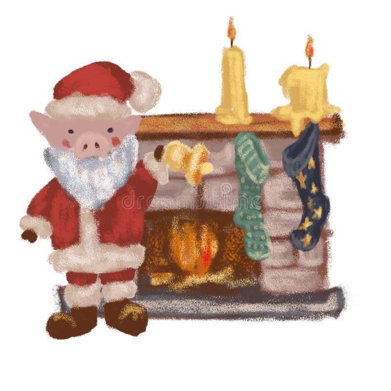 Maiale Santa Claus vicino al camino Nuovo anno Natale Simbolo 2019 Isolato illustrazione di stock