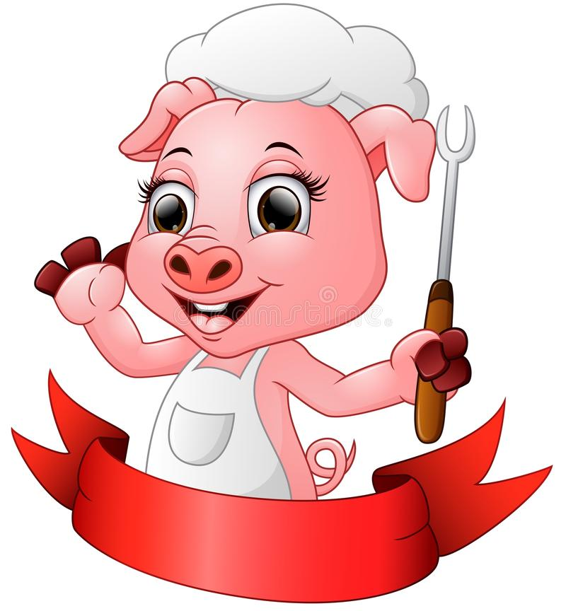 Maiale sveglio del cuoco unico del fumetto che tiene una forcella illustrazione di stock