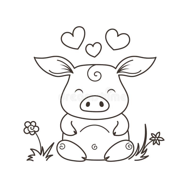Maiale sveglio del fumetto nell'amore Simbolo di nuovo 2019 anni royalty illustrazione gratis